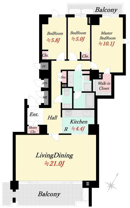 パークハウス多摩川南五番館 4階部分